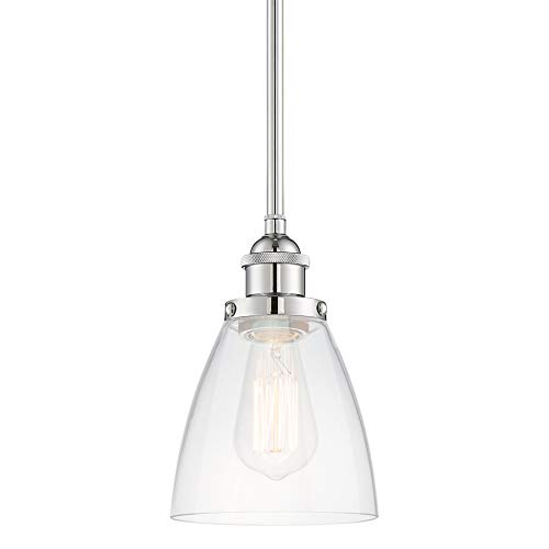 Kira Home Porter 8'' Stem-Hung Industrial Pendant Light + Mini Glass Shade, Chrome Finish by Kira Home