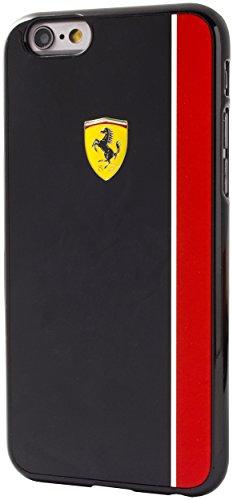 Ferrari FEBKSHCP6BK Scuderia Platte Streifen glänzende harte Schutzhülle für Apple iPhone 6/6S 11,4 cm (4,7 Zoll) schwarz/roten
