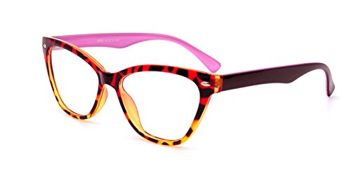 AMILLET Womens Cat Eye Eyeglass Frames Clear Lens (Tortoise Pink, - Eyeglass Hip Frames
