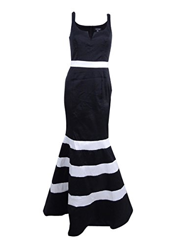 Xscape Women's Taffeta Striped Mermaid Gown (8, Black/White)