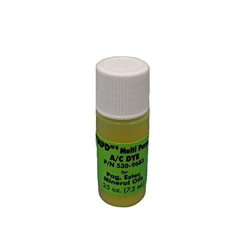 Fluoro-Dye MPD A/C DYE - 1/4 OZ Bottle 1 Application - Universal Air Conditioning System Leak Detection Dye - Compatible with R12, 134a, 501, 502, -