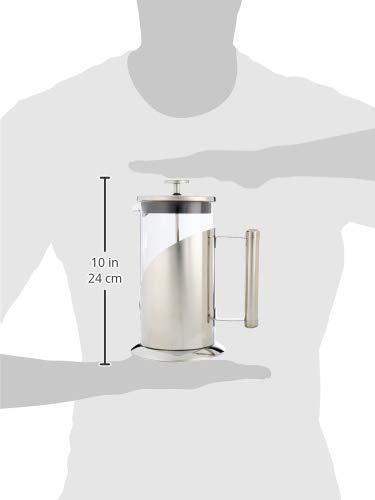Cafe Du Chateau French Press Coffee Maker (8 Cup,34 oz) with 4 Level Filtration System,Stainless Steel,Heat Resistant Glass