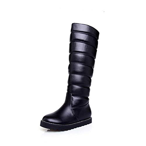 Soul Curve Mini (T-JULY Women's Knee High Solid Colors Winter Snow Boots Waterproof Round Toe PU Platform Shoes)