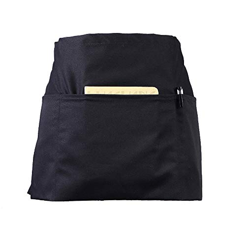 (CLOCOR 1 Pack Server Apron with 3 Pockets - Black Waist Apron, 65% Poly / 35% Cotton, Half Home Kitchen Apron for Cooking Cleaning, 24 X 12 inch for Holding Server Book Guest Check Card Holder)