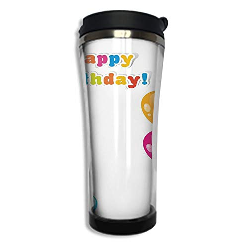 Travel Coffee Mug 3D Printed Portable Vacuum Cup,Insulated Tea Cup Water Bottle Tumblers for Drinking with Lid 8.45 OZ(250 ml)by,Birthday Decorations,Colorful Festive Mood Flying Party Balloons Surpri