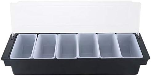 PQZATX プラスチックボックス6コンパートメントブラックボックスキッチン調味料ボックスブラケットバー飲料フルーツデコレーションボックスカクテルトレイ