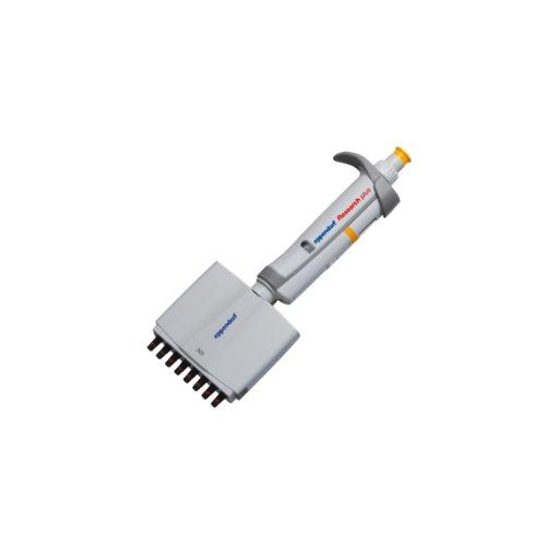 Eppendorf 3122000051 8-Channel Research Plus Adjustable-Volume Pipetters, Orange Operating Button, Volume Range: 30-300 µl