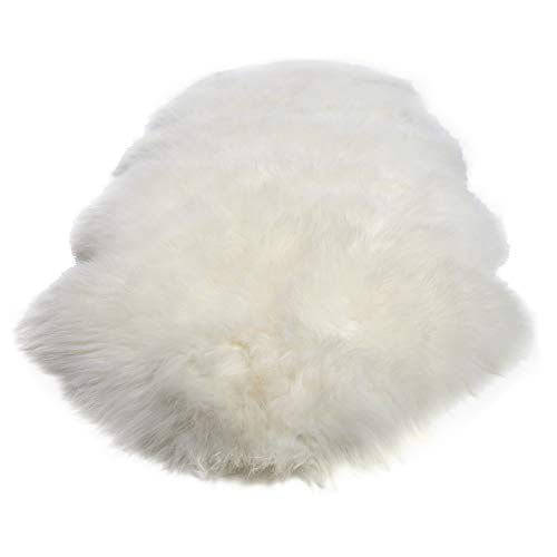 Desert Breeze Distributing Double Pelt, New Zealand Premium Sheepskin, Ivory Rug, Thick Soft Luxurious Natural Wool, by Minidoka Sheepskin
