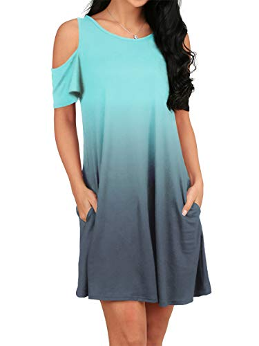 OFEEFAN Womens Casual Cold Shoulder Comfy Cute Summer Dress Ombre Mintgreen S
