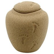 Oceane Sand Footprints Urn Extra Small, Eco Urn for Sea or Earth Burial, Child Sized Urn