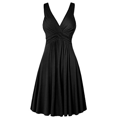 GOWOM Women's Plus Size V-Neck Retro Sling Pleated Slim Flare Skirt Dresse(Black,XXXXX-Large) (Coca Cola Trek Poster Star)