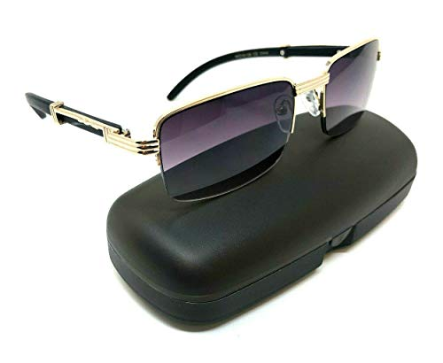 (Executive Slim Half Rim Rectangular Metal & Wood Aviator Sunglasses (Rose Gold & Black Wood w/Case, Black))