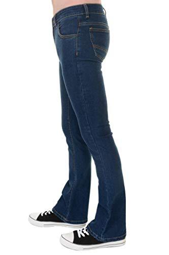 Run & Fly Mens 60s 70s Vintage Blue Stonewash Stretch Denim Slim Bootcut Jeans 34 Regular for $<!--$44.95-->