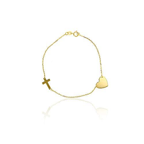 (10K Yellow Gold Diamond Cut Polished Heart Charm and Sideways Cross Bracelet, 7