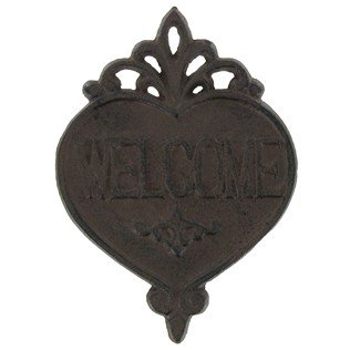 Aunt Chris' Products - Heavy Cast Iron Plaque - Welcome Sign With Scroll Work Design - Heart Shaped Wall Mount - Primitive ()