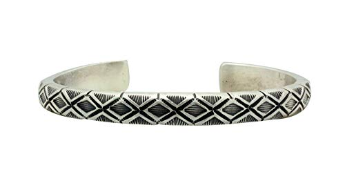 Calvin Martinez, Bracelet, Round Wire, Diamond Row, Silver, Navajo Made, 6.75