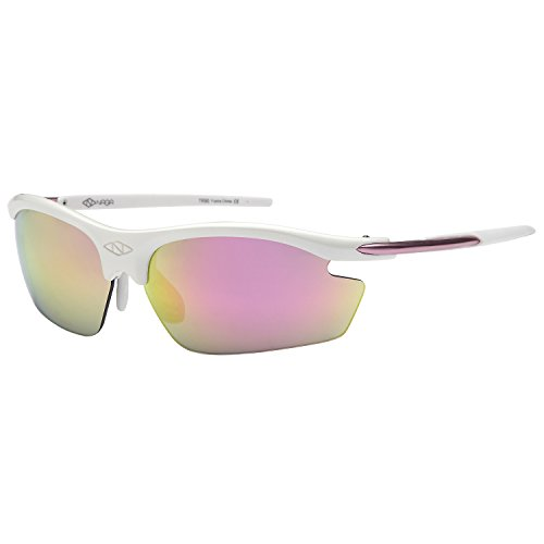 NAGA Sports Pioneer Model UV400 Sports Sunglasses - (NON Polarized Racing Red Lens White - Sunglasses Softball For