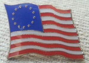 (Quality Handcrafts - 13 Star Betsy Ross Flag Lapel PIN HAT TAC New - Accessories for Clothes Decoration)