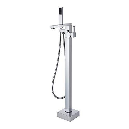 Wowkk Freestanding Tub Filler Bathtub Faucet Chrome Floor Mount Bathroom Faucets Brass Single Handle with Hand Shower