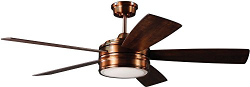 Craftmade Ceiling Fan with LED Light and Remote BRX52BCP5 Braxton Brushed Copper 52 Inch Dimmable (Light Ceiling Fan Craftmade)