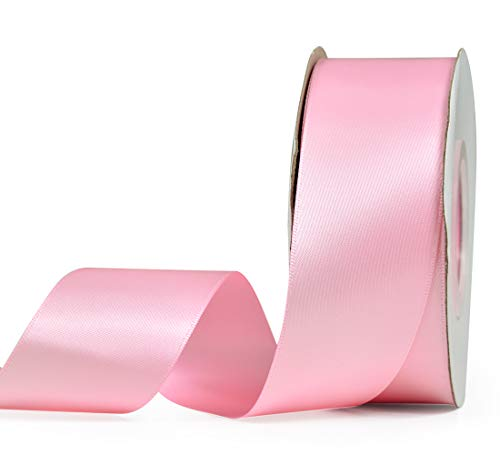 YAMA Double Face Satin Ribbon - 1 1/2 Inch 25 Yards for Gift Wrapping Ribbons Roll, Pink