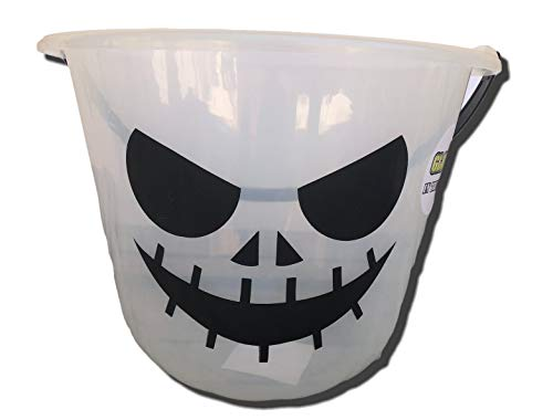 Glow in The Dark Halloween Candy Bucket Plastic Pail (Scary Pumpkin) White