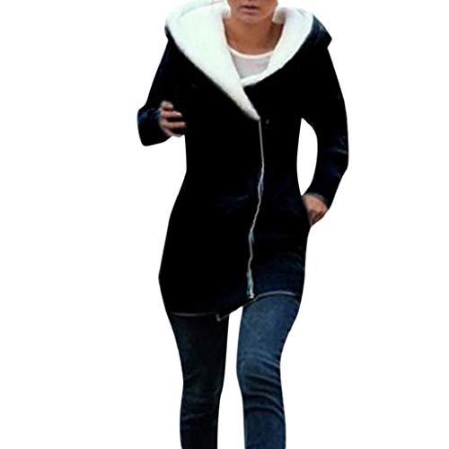 Blazer Pinstripe Lined (Creazrise Women's Polar Fleece Sherpa Lined Zip Up Long Sleeve Zipper Hooded Coat (Gray,XXL))