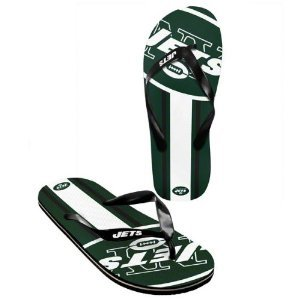 New York Jets official NFL Unisex Flip Flop Beach Shoes Sandals slippers size large by forever