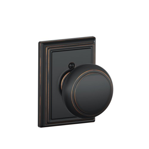 Decorative Trim Door Knob - Andover Knob with Addison Trim Non-Turning Lock, Aged Bronze (F170 AND 716 ADD)