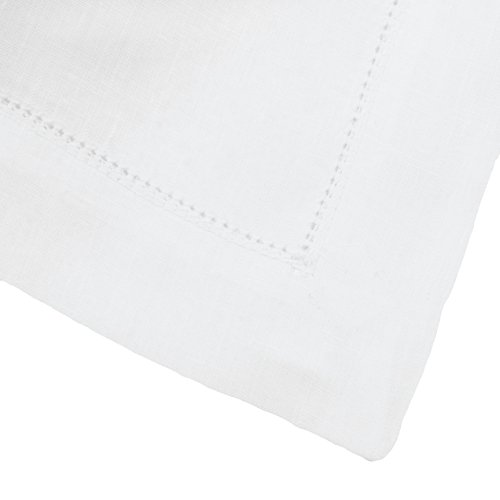 White Pure Linen Napkin With Hemstitch (Set of Six) by Huddleson Linens