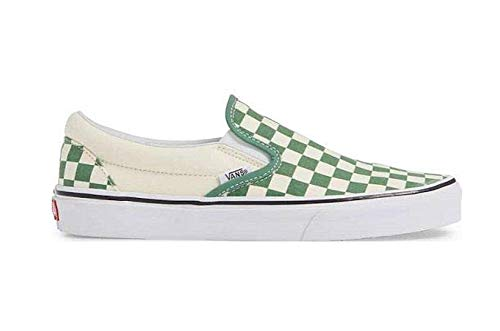 - Vans Classic Slip On Shoes Sneakers Crackle Blanc de Blanc/Leather (M3.5/W5, Checkerboard Green/Off White)