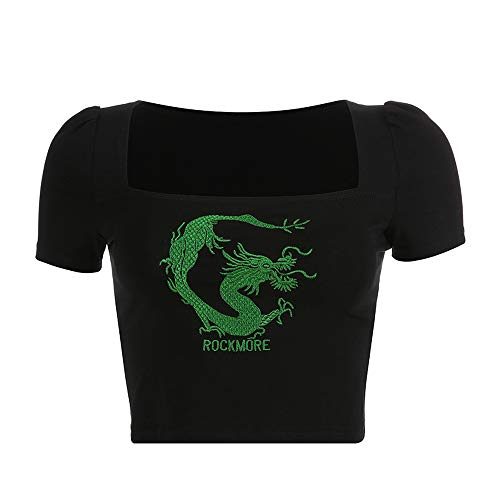 (Women Chinese Dragon Snake Printed Cropped Sexy Black Backless Strap Crop Tops (Green, S))