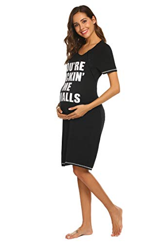 Ekouaer Labor and Delivery Gown The Perfect for Maternity/Hospital/Nursing Kickin' Me Smalls Print Nightshirts (Black XXL) (Bump In The Night Nursing Gown And Robe)