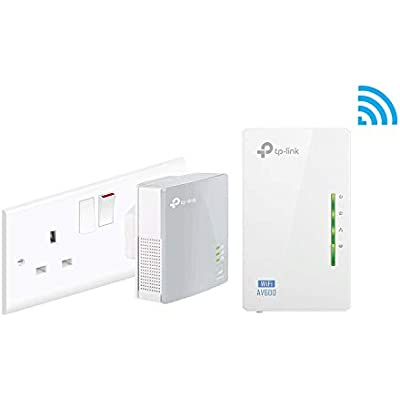 TP-Link TL-WPA4220KIT 2-Port Powerline Adapter WiFi Starter Kit  Range Extender  Broadband WiFi Extender  WiFi Booster Hotspot  Configuration Required  Plug  Renewed