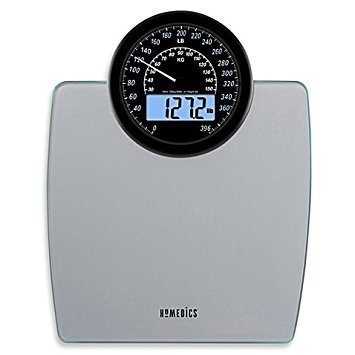 Homedics 900 Dual Display Digital Bath Scale, Large, Traditional Speedometer Dial, 1.2' White Backlit LCD Readout