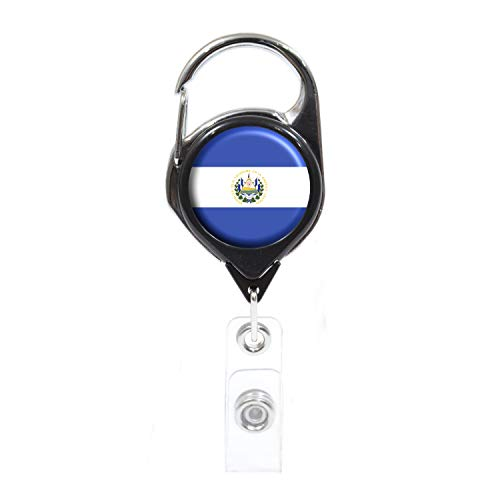 Officially Needed-El Salvador Country ID Badge Holder, Black Retractable Carabiner Clip | Great Office Supplies or Holding Keys | Gifts for Women, Teachers, Nurses, Professionals, Government