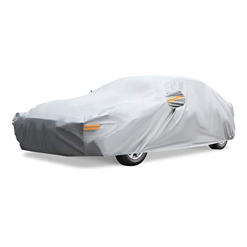 NEVERLAND Full Car Cover Four Layers Waterproof Outdoor Sun UV Pretection Universal for Sedan Saloon with Free Windproof Strap & Anti-Theft Lock (Grey, 208.6