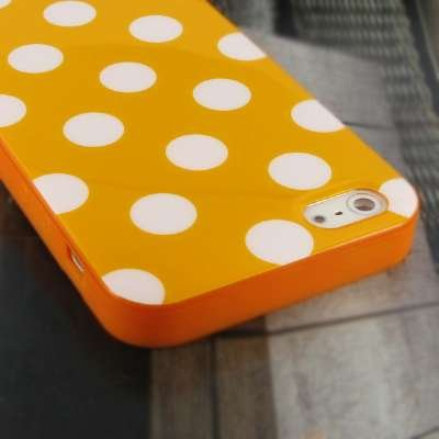 MPERO Cute Orange with Weiß Polka Dots Case for Apple iPhone 5 Cover