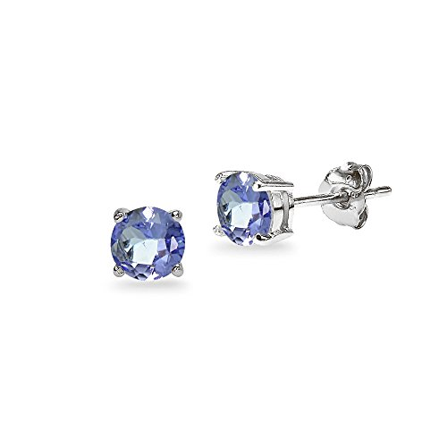 Gold Tanzanite Round Stud Earrings product image