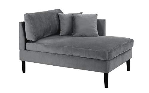 Mid Century Modern Plush Velvet Chaise Lounge (Grey) ()