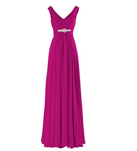 Chiffon Braut Abendkleider Elegant Partykleider Abschlussballkleider Ausschnitt Marie Pink Brautjungfernkleider V La HgqFnYwSS