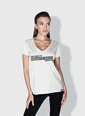 Creo I Like Long Romantic Walks Funny T-Shirts For Women - L, White