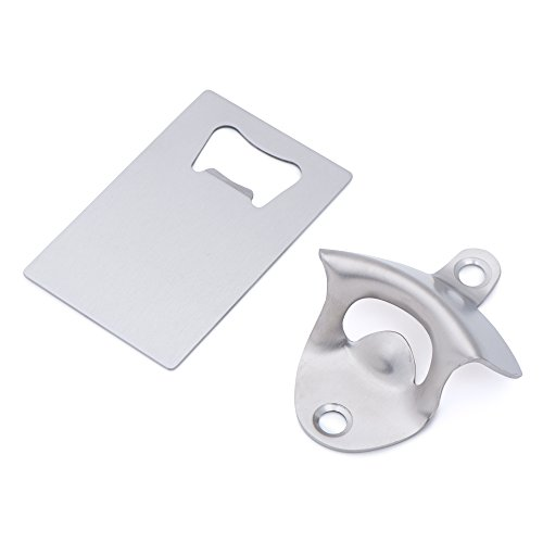 DesignWorks Wall Mounted Bottle Opener for Beer and Soda, Durable and Rustproof Brushed 304 Stainless Steel with Mounting Screws, includes Bottle Opener Card Bonus