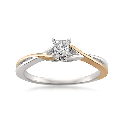 14k Two-Tone Rose & White Gold with Rhodium Princess-cut Diamond Engagement Ring (1/4 cttw, I-J, I1-I2), Size 5