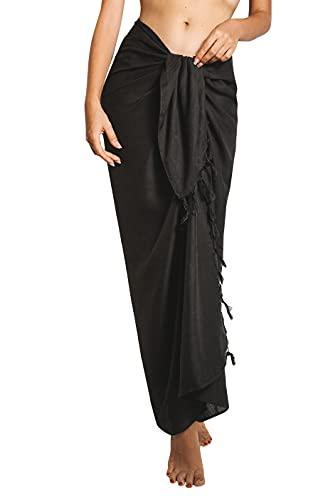 CHAINUPON Black Sarong Cover Up Womens Beach Swimsuit Bikini Pareos Wrap Skirt