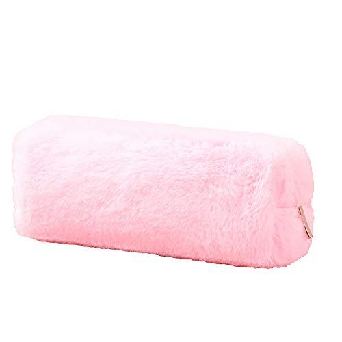 (ekqw015l Pencil Case Pencil Bag-Big Capacity School Stationery Storage Case | Pen Pouch with Double Zipper | Solid Color Soft Velvet Pen Pencil BagPen Holder for School/Office Pink)