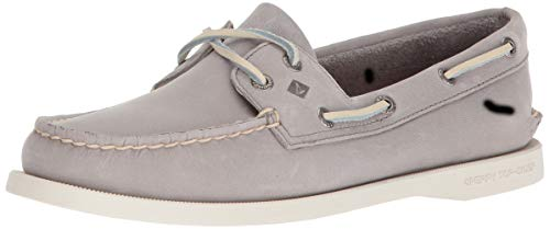 Sperry Womens A/O 2-Eye Boat Shoe, Grey, 8 (The Best Boat Shoes 2019)
