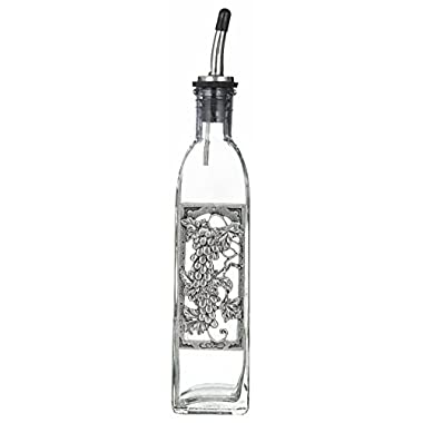 Bella Casa Glass & Pewter Olive Oil or Soap Bottle with Chrome Pour Spout