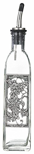 (Bella Casa Glass & Pewter Olive Oil or Soap Bottle with Chrome Pour)