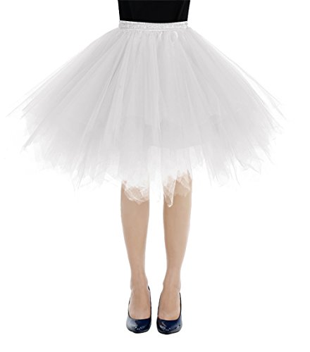 Tulle Mini Petticoat Skirt (Bbonlinedress Women's Mini Vintage Petticoat Tutu Three-Layer Tulle Ballet Bubble Skirt White XL)